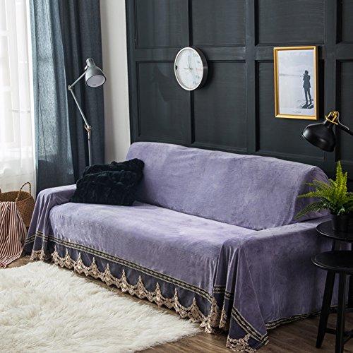 Plüschsofa slipcover,Volle sofaabdeckung Plüsch schlafsofa cover Einfache moderne schiere handtuch Anti-rutsch-staubschutz Universal-sofa-abdeckung-lila drei Sitze(79*118inch) (Schonbezug Sofa Lila)