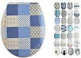 MSV Design WC Sitz, Absenkautomatik, Fast Fix/Schnellbefestigung, Befestigung mit Knopfdruck, Toilettensitz WC Deckel Klobrille Ceramique Blau