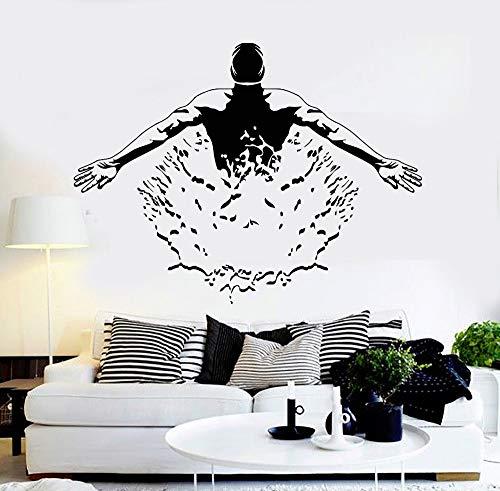 wukongsun Hübsche Haltung Wohnzimmer Dekoration Vinyl Wand Applique Schwimmbad Schwimmer Kunst Wandbild entfernbarer Aufkleber 88.5 cm x 63 cm