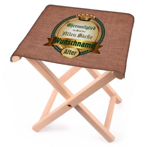 Lustapotheke® Klapphocker aus Holz für den Alten Sack mit Wunschname zum Geburtstag