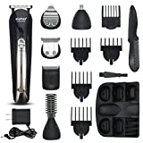 mens rasoio, t-antrix 11 in 1 Professional Grooming kit, ricaricabile, impermeabile, orso e baffi trimmer, no e capelli trimmer, rasoio per uomini barbiere salone con 5 guide Combs, colore nero