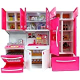 MKE Elektra Plastic Modern Kitchen Battery Operated Play Set with Refrigerator, Accessories, Fruits, Music and Lights (Pink, 18X12 Inches)