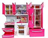 MKE Elektra Plastic Modern Kitchen Battery Operated Play Set with Refrigerator, Accessories, Fruits