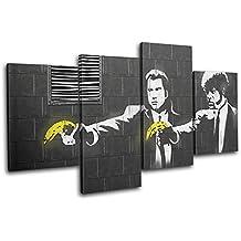 Bold Bloc Design - Pulp Fiction Banksy Hi Res - 240x135cm Caja de lámina de arte lienzo enmarcado foto del colgante de pared - hecho a mano en el Reino Unido - enmarcado y listo para colgar - Canvas Art Print