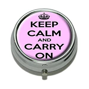 Keep Calm and Carry On Pink Pill Case Trinket Gift Box