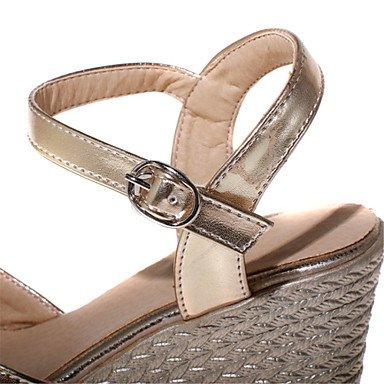 LvYuan Sandalen-Büro Kleid Lässig-Lackleder Kunstleder-Keilabsatz-Komfort Club-Schuhe-Blau Rosa Silber Gold Gold