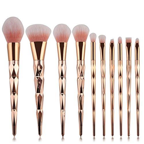 Sansee Pinceaux de maquillage 10 pièces Bambou Brosse de Maquillage Professionnel synthétique Fusion de fond de teint Concealer Eye visage liquide Poudre crème Cosmétique Pinceaux kit