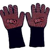 Panamami BBQ Grillen Kochen Handschuhe 500 ℃ Extreme hitzebeständige Handschuhe Extra Unterarmschutz Anti-Rutsch-Topflappen Handschuhe - Red & Black