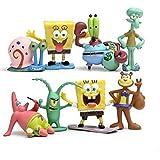8 pezzi SpongeBob Figures Toys, Squidward, Sandy Cheeks, Patrick Star, Mr. Krabs, Cake Topper, 5,1 cm