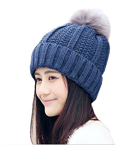 ECHERY Damen Winter Warm Faux Pelz Pom Pom Dicken Kabel Stricken Slouchy Beanie Schädel Kappe Hüte Marine Blau (Beanie Cuff Stricken Hut)
