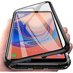 Coque pour Samsung Galaxy A7 2018 Adsorption Magnétique étui 360 Degrés Protection Housse Dual Haptique Ultra Mince Verre Trempé Aimant Fort Cadre Aluminium Antichoc Métal Flip Cover