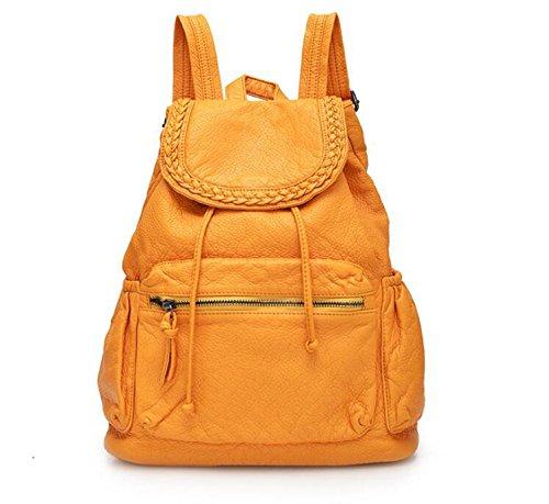 Damen Handtasche Lederrucksack gewaschen Yellow
