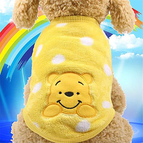 dingsheng Haustierkleidung Welpe HoodieGestickte warme Kleidung der Haustierhundekatze färben Winnie The Pooh S gelb