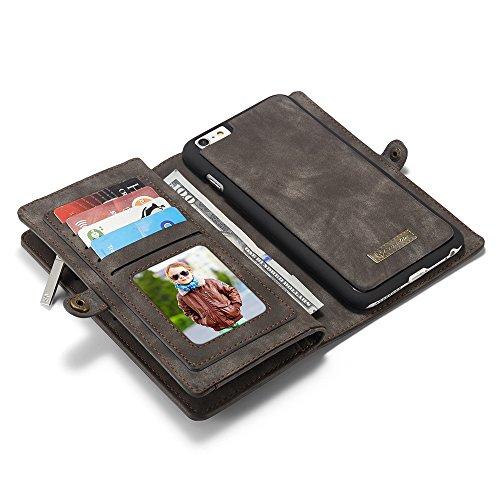 CaseMe Etui Protection Detachable Case Carte Slots Multifonctionnel Zipper Purse PU Couvertures en Cuir Fermeture Magnétique pour iPhone 6 plus / iPhone 6s plus Noir