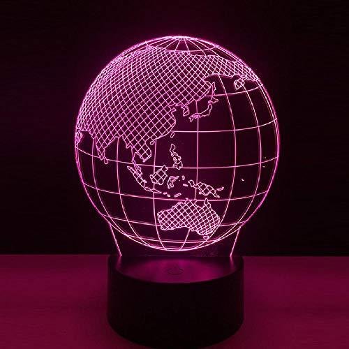 3D Lámpara Led Mapa Del Globo Terráqueo Luz De La