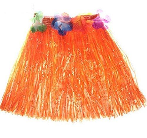 Oyfel Hawaiian Hula Gras Rock Fancy Kostüm Elastic für Luau Beach Party Gastgeschenken Mädchen Frauen verschiedene Farben, Orange, 40 cm (Gras Rock Hula)