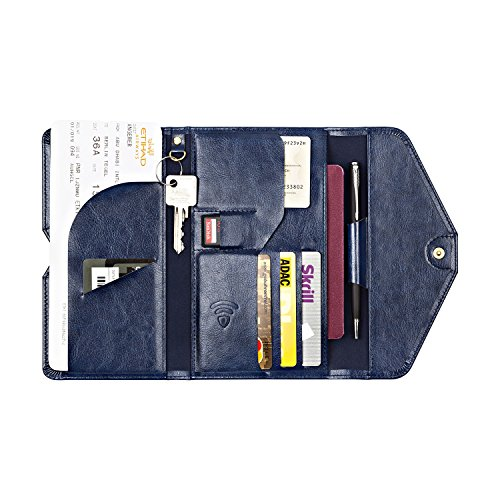 Organizer da viaggio RFID per proteggere–Portafoglio da viaggio per documenti di viaggio, passaporto e carte di credito–carte di credito dal furto d' identità blu Blau