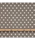Jap. Baumwollstoff, weiße Polka dots auf grau, 50cm x