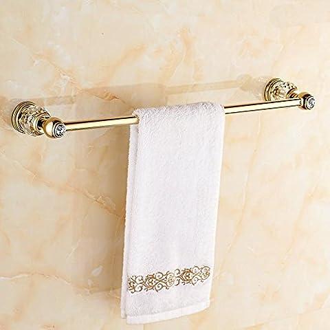 LYNDM Cristal de lujo solo Toallero Toallero de latón macizo oro colgante de baño Accesorios de Baño,blanco,Tamaño(#MJG0162)