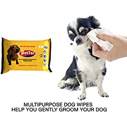 Portable Hygienic Multipurpose Pet Wipes for Cleaning Paws, Face, Eyes, Ears and Stain Remover for Dog / Puppy / Cat / Kitten (20 Wipes)
