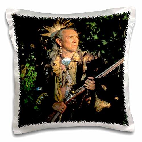 3drose Danita Delimont–Native Amerikaner–Shawnee indischen enactor, native Amerikaner–US36awy0021–Angel Wynn–Kissen Fall, Satin, weiß, 16x16 inch Pillow ()