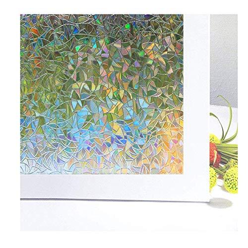 Aojia Fensterfolie Sichtschutzfolie Selbstklebend 3D Dekorfolie Regenbogenfarben Unter Licht Anti-UV für Badezimmer, Duschkabine Sowie Türen, Umkleide, Konferenzräume