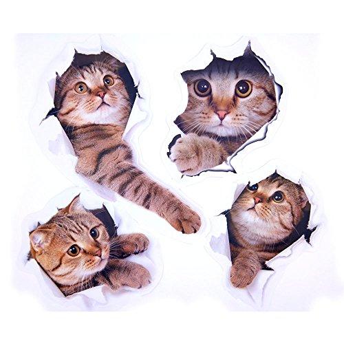 Pazi Katzen Aufkleber Wand 3D Abnehmbare Wandtattoo für Auto Fenster Toilette Badezimmer Schlafzimmer Kinderzimmer Küche Wand Dekor