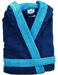 Home Basic Kids - Albornoz con capucha para niños de 14 años, color marino y