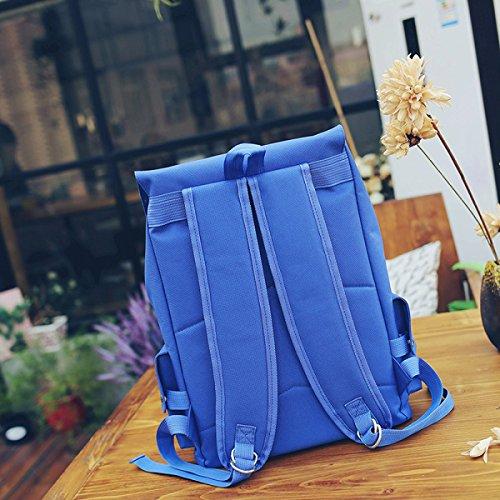 LAIDAYE Dame-Schulterbeutel Beiläufiger Spielraum-Rucksackdame-Rucksackart Und Weisehandtaschen-Hochschulwind-Beutel Blue