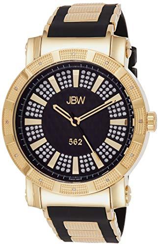 JBW Men's 562 Diamond 50mm Black Silicone Band Swiss Quartz Watch JB-6225-J