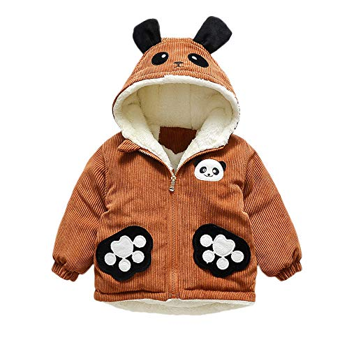 MCYs (12M-3Y) Long Sleeve Verdicken Corduroy-Panda-Ohr-Kapuzenjacke, Kleinkind Baby Mädchen Karikatur Langer Hülsen Hoodie Winterwärmer Kleidungs ()
