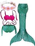2018 Estate della Sirena ultimo Stile di Nuoto Ragazza Coda Costume da Bagno di 3 Confortevoli Bikini Materiale Tuta Libera invia Corona Bella (S (3-5), Verde)