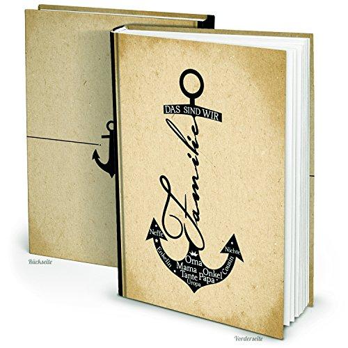 XXL Familien-Album Familien-Buch ANKER Familien-Chronik Stammbaum zum selbst Gestalten beige schwarz maritim - ein Geschenk zur Hochzeit Weihnachten Geburtstag Geburt -