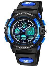 Reloj Deportivos para Niños Niño Niña Resistente al agua Digital Analógico Militares Impermeabl Deportivos Especiales al Aire Libre LED Despertador Multifuncionales (Azul)