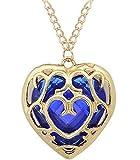 Halskette Kette Halsanhänger Halsschmuck The Legend of Zelda Halsband Herz Design Schmuck (blau)