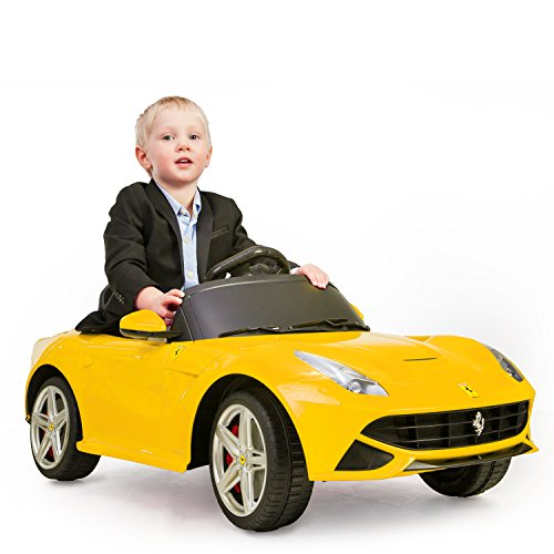 Ferrari F12 Gelb Elektro Kinderauto Elektroauto Kinderfahrzeug für Kinder 12V Ride-On Auto Spielzeug ferngesteuert Spielzeug mit Fernbedienung RC