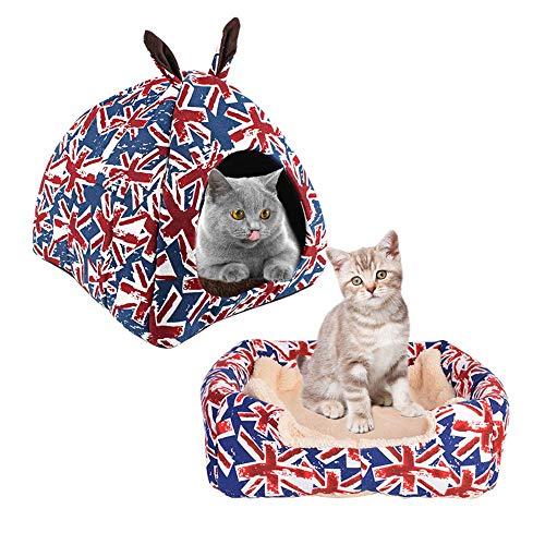 MEIQI Haustier Nest Komfort Katzenhaus, Katzenhöhle in Mehreren Farben, 30cmx30cm, faltbar aus hochwertigem Material,35 * 35cm