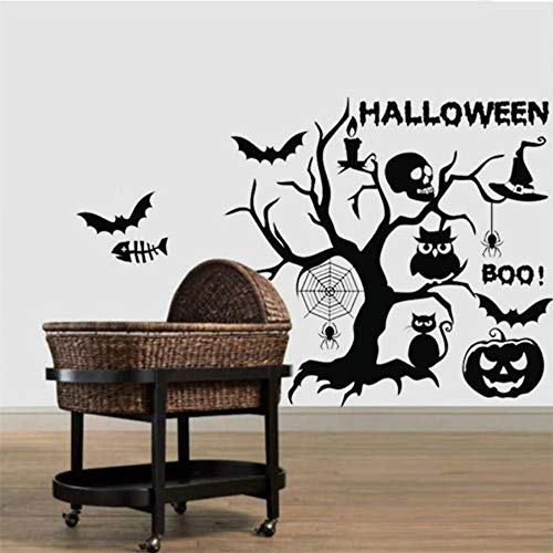 Happy Halloween Kürbis kopf eule katze horror schädel Cartoon Wandaufkleber Fenster Dekoration Aufkleber Decor ()