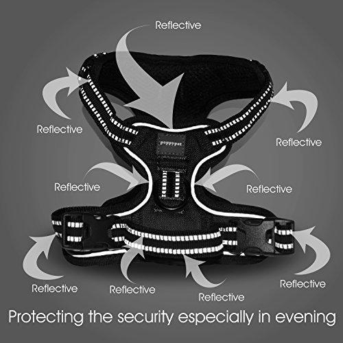 Poppypet No-Pull-Hundegeschirr Haustier sicher Kontrolle Easy Soft Gehen gepolstertes Hundegeschirr aus Nylon Schwarz M - 6