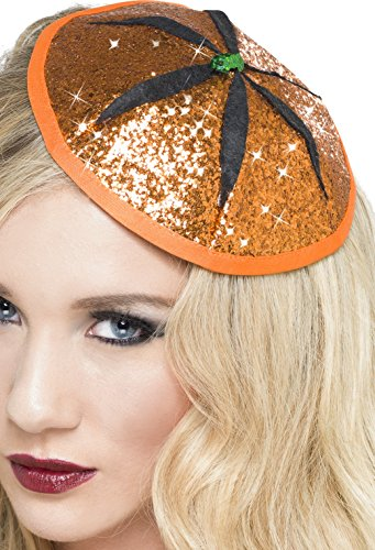 Smiffy's 23319 - Kürbis Fascinator Glitter, orange (Glitter Halloween Kostüme)