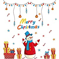 Emorias 1 Pcs Gummed Home Decorative Christmas Snowman Window Wall Sticker Glass Party Kitchen Glass Accessories