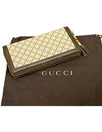 Gucci 224253 - Cartera de lona de bronce de bambú con cierre de cremallera