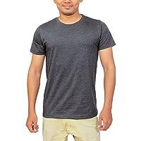 Megsto Plain Cotton round neck T-shirt (Dark Grey) M Size