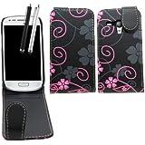 Samrick Housse à clapet pour Samsung Galaxy S3 Mini i8190/i8190N avec CCP avec film protecteur d'écran, chiffon microfibre et stylets capacitifs haute performance Motif floral Noir/rose