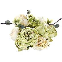 FiveSeasonStuff Ramos de Flores Seda Peonía Flor Artificial Estilo Europeo, Perfecto para la Boda, Nupcial, Partido, Hogar, Oficina de la Decoración de DIY