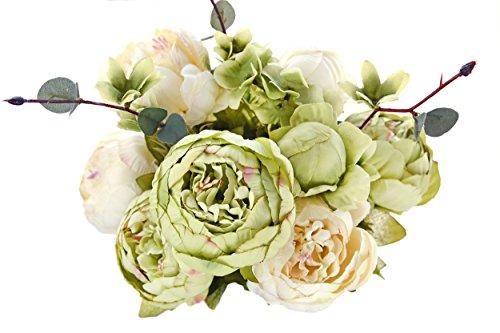 Dekorationen Hochzeit Hortensie (FiveSeasonStuff 1 Pflanzen Blumenstrauß Seide Pfingstrosen Künstlich Blumen, Bouquet Dekoration, ideal für die Hochzeit, Braut, Party, Zuhause, Büro Dekor DIY (Grün & Beige))