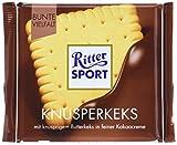 RITTER SPORT Knusperkeks (100 g), Vollmilchschokolade mit Keks und Milch-Kakao-Creme, Schokolade mit Butterkeks, knusprige Tafelschokolade
