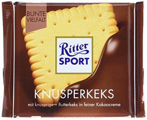 (RITTER SPORT Knusperkeks (100 g), Vollmilchschokolade mit Keks und Milch-Kakao-Creme, Schokolade mit Butterkeks, knusprige Tafelschokolade)