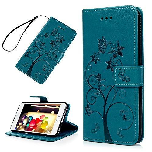 Badalink Hülle für iPhone 6 Plus / iPhone 6S Plus Rosarot Ameise Baum Handyhülle Leder PU Case Magnet Flip Case Schutzhülle Kartensteckplätzen und Ständer Handytasche mit Eingabestifte und Staubschutz Blau