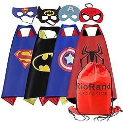 ioRand Superhero Disfraces de Disfraces de Dibujos Animados Capas de Satén con Máscaras de Fieltro para Niños